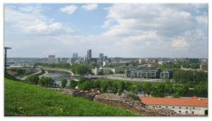 A view of Lithuania's capital Vilnius from a castle located right outside the city.